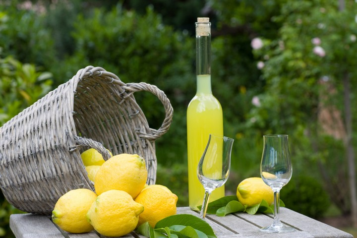 Summer, garden party with limoncello