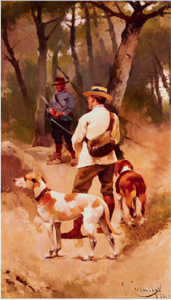 Peinture de chasseurs et chiens