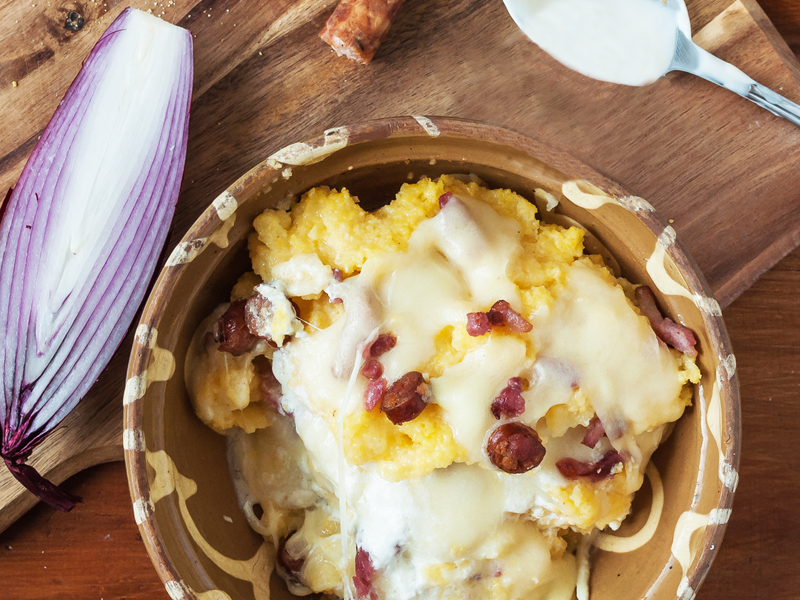 polenta cotechino et provolone